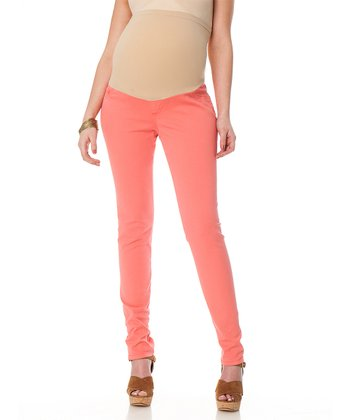 Coral Twill Secure Fit Secret Fit Belly® Maternity Skinny Pants
