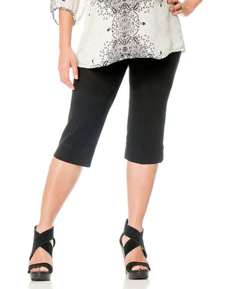 Black Twill Secret Fit Belly® Maternity Capri Pants