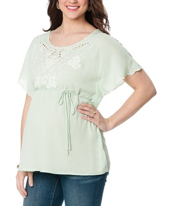 Mint Embroidered Maternity Angel-Sleeve Top