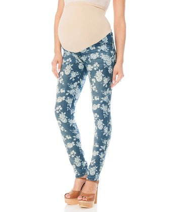 Indigo Floral Secret Fit Belly® Maternity Skinny Jeans