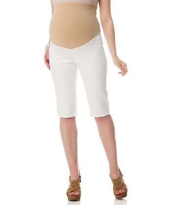 White Slim Secret Fit Belly® Maternity Bermuda Shorts