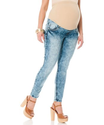 Acid Wash Secret Fit Belly® Maternity Cropped Skinny Jeans