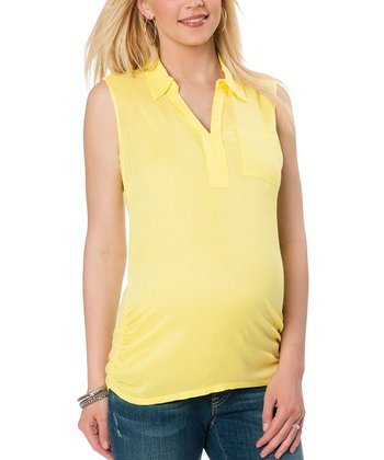 Aurora Yellow Collared Maternity Sleeveless Top