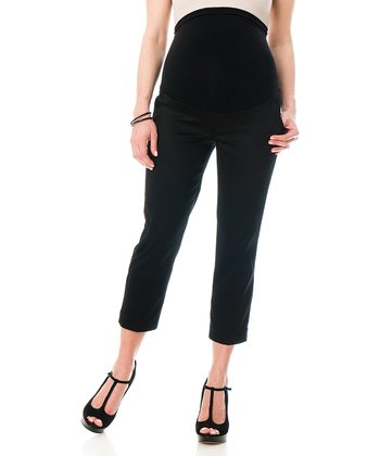 Black Sateen Secret Fit Belly® Maternity Capri Pants