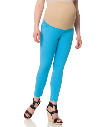 Malibu Blue Five-Pocket Secret Fit Belly® Maternity Skinny Pants
