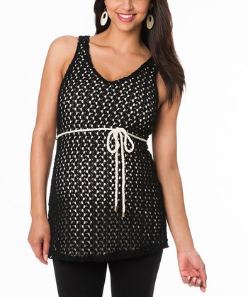 Black Crocheted Maternity Sleeveless Tunic