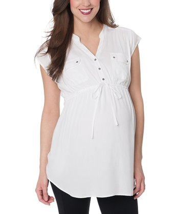 White Two-Pocket Maternity Cap-Sleeve Top