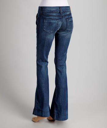 Blue Fade Low-Rise Sandra Wide-Leg Jeans
