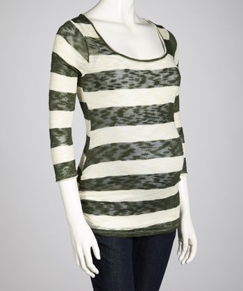 Olive & Ivory Stripe Maternity Three-Quarter Sleeve Top - Women