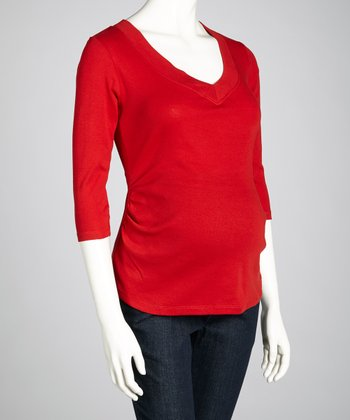 Red Maternity Three-Quarter Sleeve Top