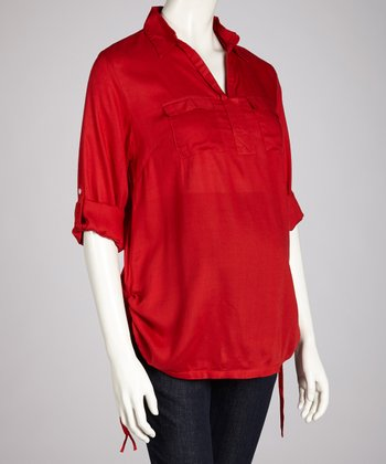 Samba Double Pocket Maternity Button-Up Tunic - Women