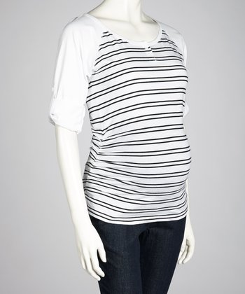 Black & White Stripe Maternity Raglan Top - Women
