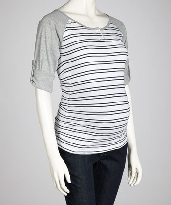 Navy & White Stripe Maternity Raglan Top - Women
