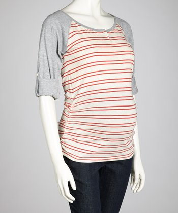 Tangerine & Oat Stripe Maternity Raglan Top - Women