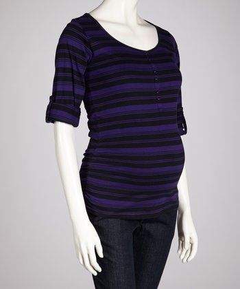 Purple & Black Stripe Maternity Henley