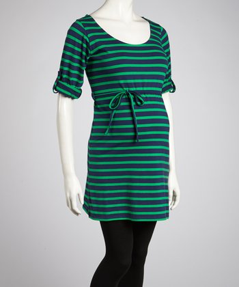 Green & Navy Stripe Tie-Waist Maternity Tunic - Women