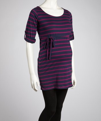 Wine & Navy Stripe Tie-Waist Maternity Tunic - Women