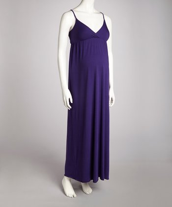 Purple Maternity Surplice Maxi Dress