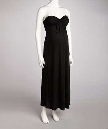 Black Maternity Strapless Dress
