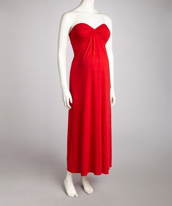 Red Maternity Strapless Dress