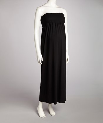 Black Shirred Maternity Strapless Maxi Dress
