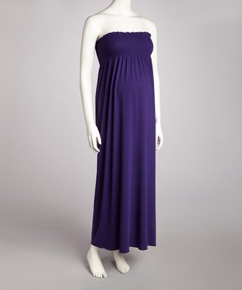 Purple Shirred Maternity Strapless Maxi Dress