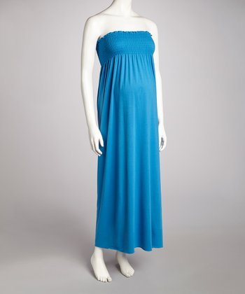 Turquoise Shirred Maternity Strapless Maxi Dress