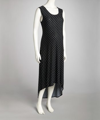 Black Polka Dot Maternity Hi-Low Dress