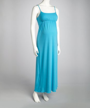 Turquoise Maternity Sleeveless Maxi Dress