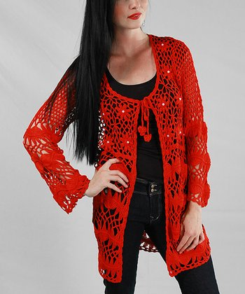 Red Crocheted Tie-Front Cardigan