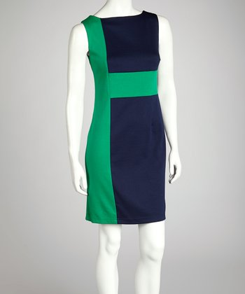 Navy & Kelly Green Geometric Dress