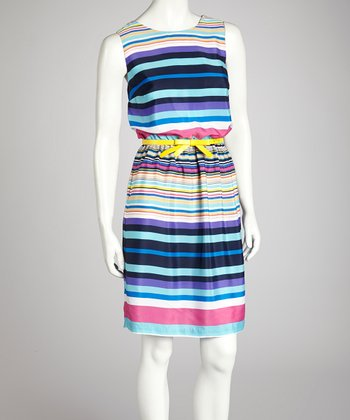 Turquoise & Pink Stripe Belted Dress