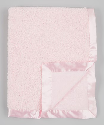 Blush Pink Chenille Fleece Stroller Blanket