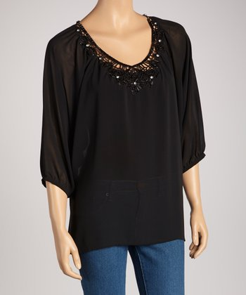 Black Beaded Chiffon Three-Quarter Sleeve Top
