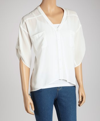 Ivory Chiffon Pocket Dolman Top