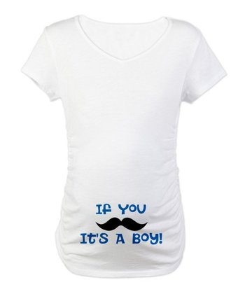 White 'If You Mustache' Maternity Tee - Women