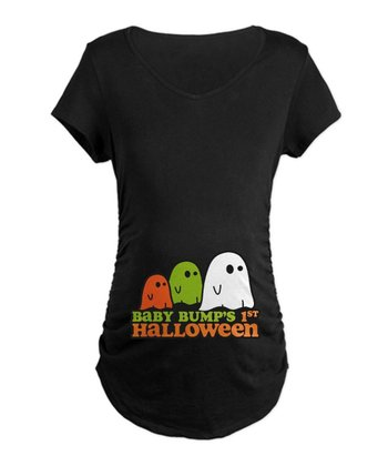 Black 'Baby Bump's First Halloween' Maternity Tee