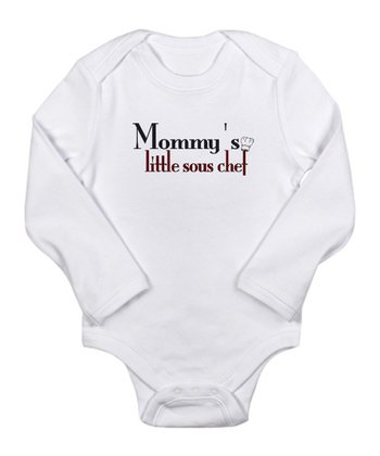 White 'Mommy's Little Sous Chef' Long-Sleeve Bodysuit - Infant