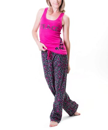 Pink 'Peace' Pajama Set - Women