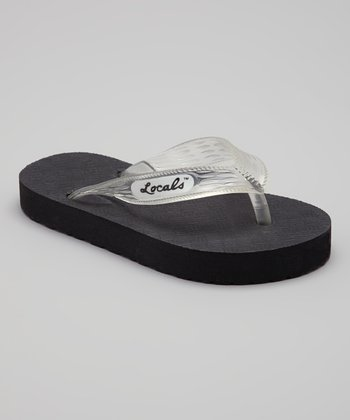Black & Clear Slippa Flip-Flop - Kids