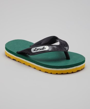 Yellow & Green Bay Slippa Flip-Flop - Kids