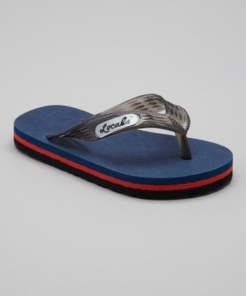 Navy & Black Slippa Flip-Flop - Kids