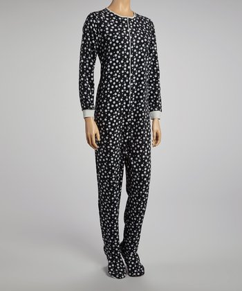 Black Dot Footloose Footie Pajamas - Women