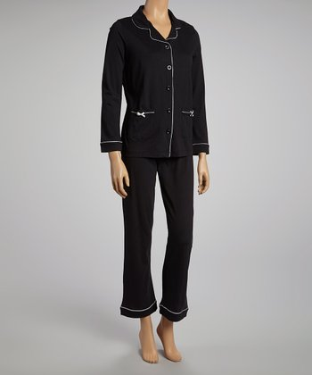 Black Notch That Collar Pajama Set - Women