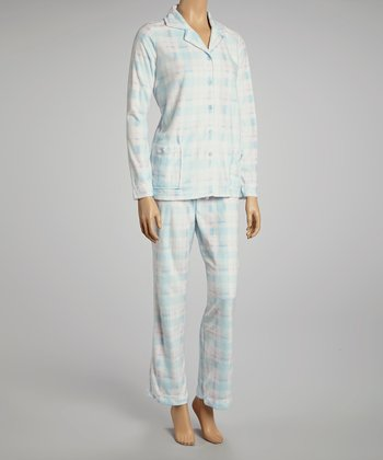Light Blue Plaid Minky Pajamas - Women