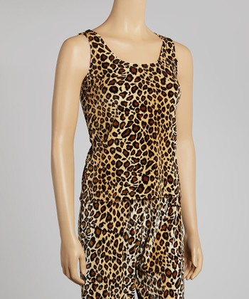 Brown & Black Leopard Velour Tank - Women