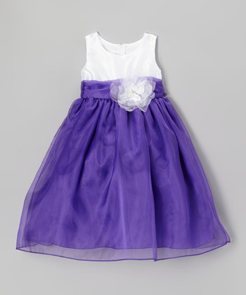 Purple & White Flower Babydoll Dress - Girls