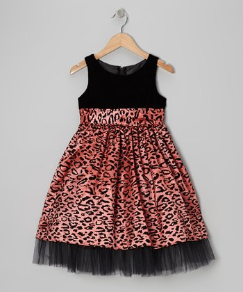 Coral Cheetah Dress - Girls