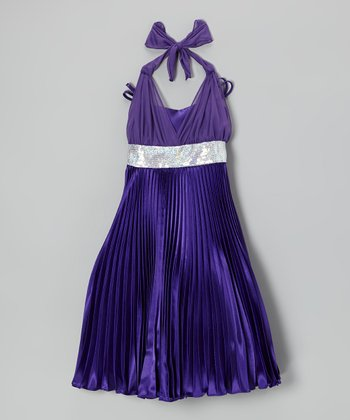 Purple Sequin Pleated Halter Dress - Girls