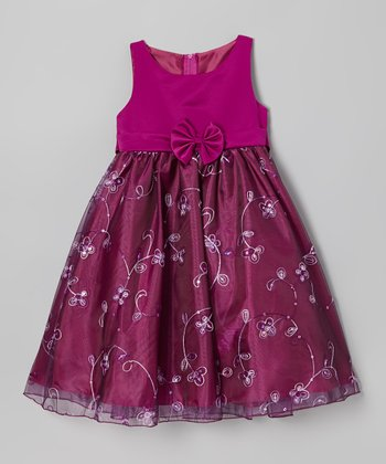 Magenta Floral Bow Dress - Girls